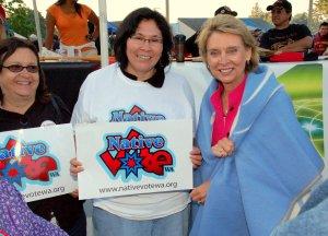 Gov. Christine Gregoire with Native Vote Washington's Renee Swan Waite and Lona Wilbur