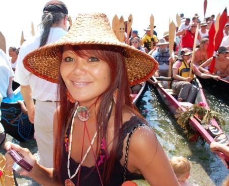 Blue Heron canoe puller Pamela Masterman
